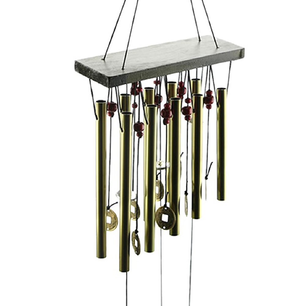 antique amazing grace 4 tubes 5 bells copper coins windchime chapel bells wind chimes door hanging - Windchimes
