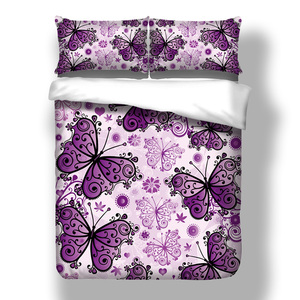 Image 5 - Wongsbedding Purple Butterfly Duvet Cover Bedding Set Animal Bedclothes Twin Full Queen King Size 3PCS