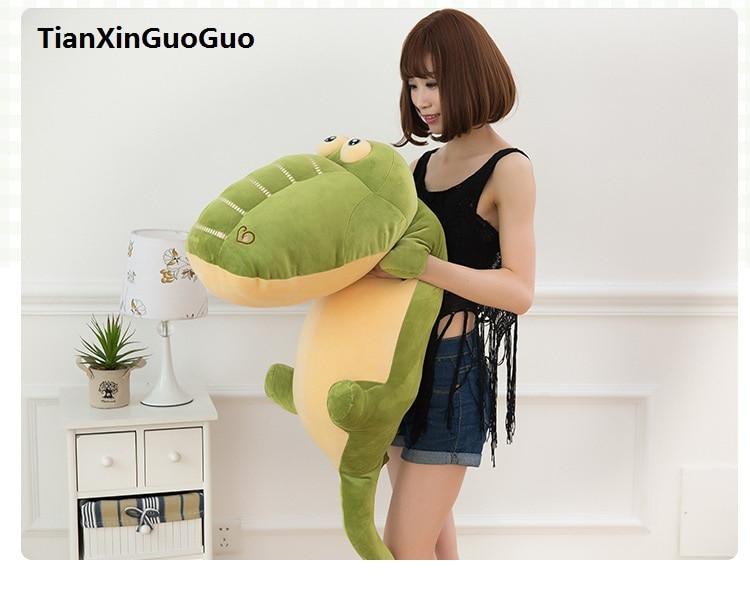 Огромный 120 см мультфильм зеленый игрушечный плюшевый крокодил очень мягкая кукла обнимая Подушка подарок на день Святого Валентина w2547