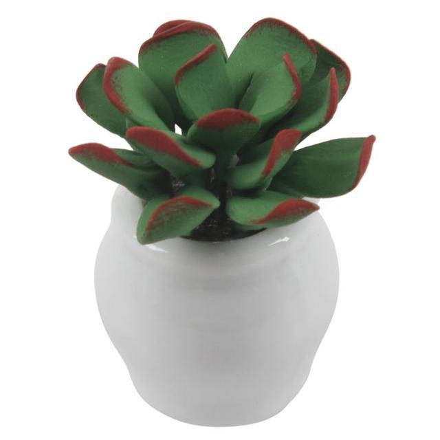 1/12 de Casa De Bonecas Em Miniatura Pequena planta de folhas verdes tecido cesta de arranjo de flor de lírio