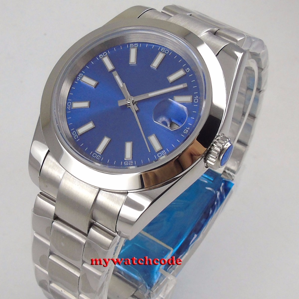 40mm bliger no logo blue dial luminous marks solid case date window sapphire glass automatic mens watch40mm bliger no logo blue dial luminous marks solid case date window sapphire glass automatic mens watch