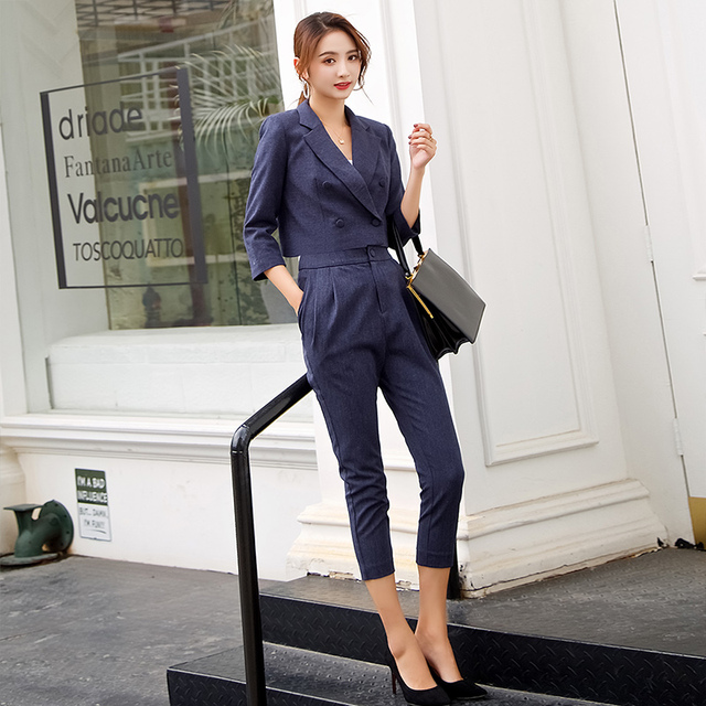 Dabuwawa Spring High Waist  Office Lady Suit Pants 2019 Woman New Navy Blue Pleated Ankle-length Casual Pencil Pants  #D18ASQ002