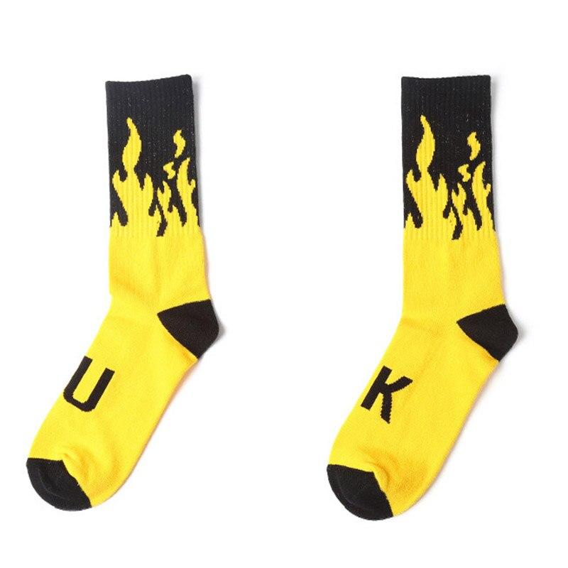 Men Cotton Socks Tide Brand Fashion Skateboard Hip Hop Harajuku Funny Flame Lettering Socks for Male Meias Eur34-44(2pairs/lot)