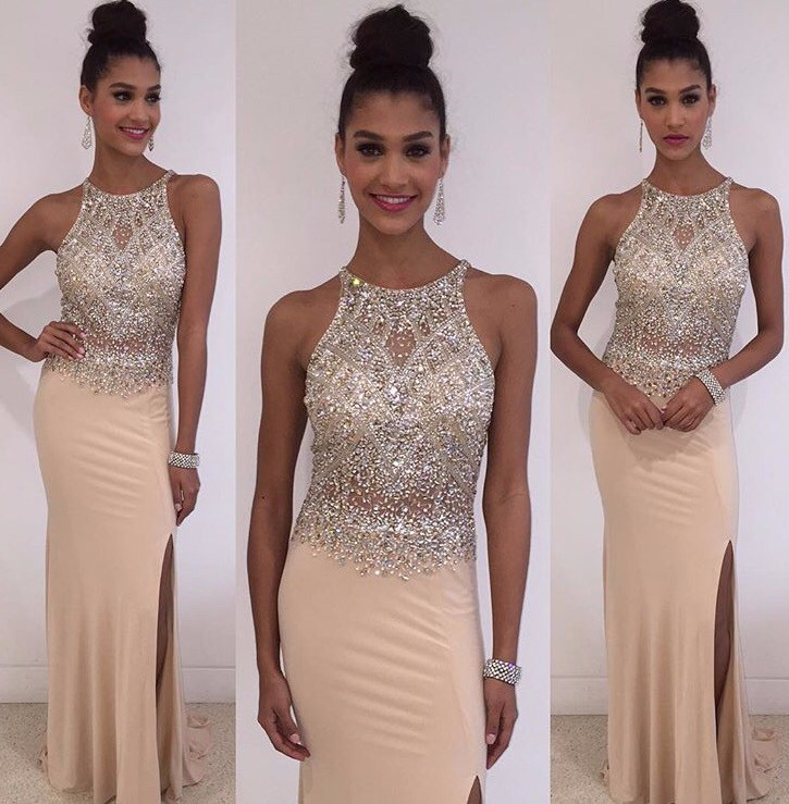 Champagne Beaded Crystal Mermaid   Prom     Dresses   Long 2019 vestidos de fiesta largos elegantes de gala Formal Evening Gowns