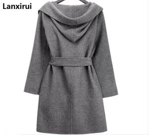 Image 5 - New Winter Women Wool Coat Long Sleeve Two Sides Wear Belted Loose Warm Woolen Jacket Hooded Outerwear