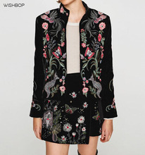 WISHBOP 2017AW Woman Fashion Black Velvet jacket with Floral embroidered high collar long sleeves hot sale