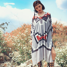 2016 summer national trend wrist-length sleeve sunscreen sweater medium-long plus size loose thin gauze chiffon shirt blouses