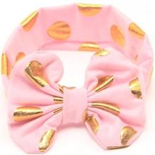 160pcs/lot 2016 New Baby Birthday Hot Stamping Dot Bow Headband Cotton Headband For Newborn