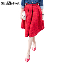 2017 New women skirts High Waist Ball Gown Vintage Red Floral Print Dark jacquard Long Umbrella Skirt Knee Pleated Skirt Female