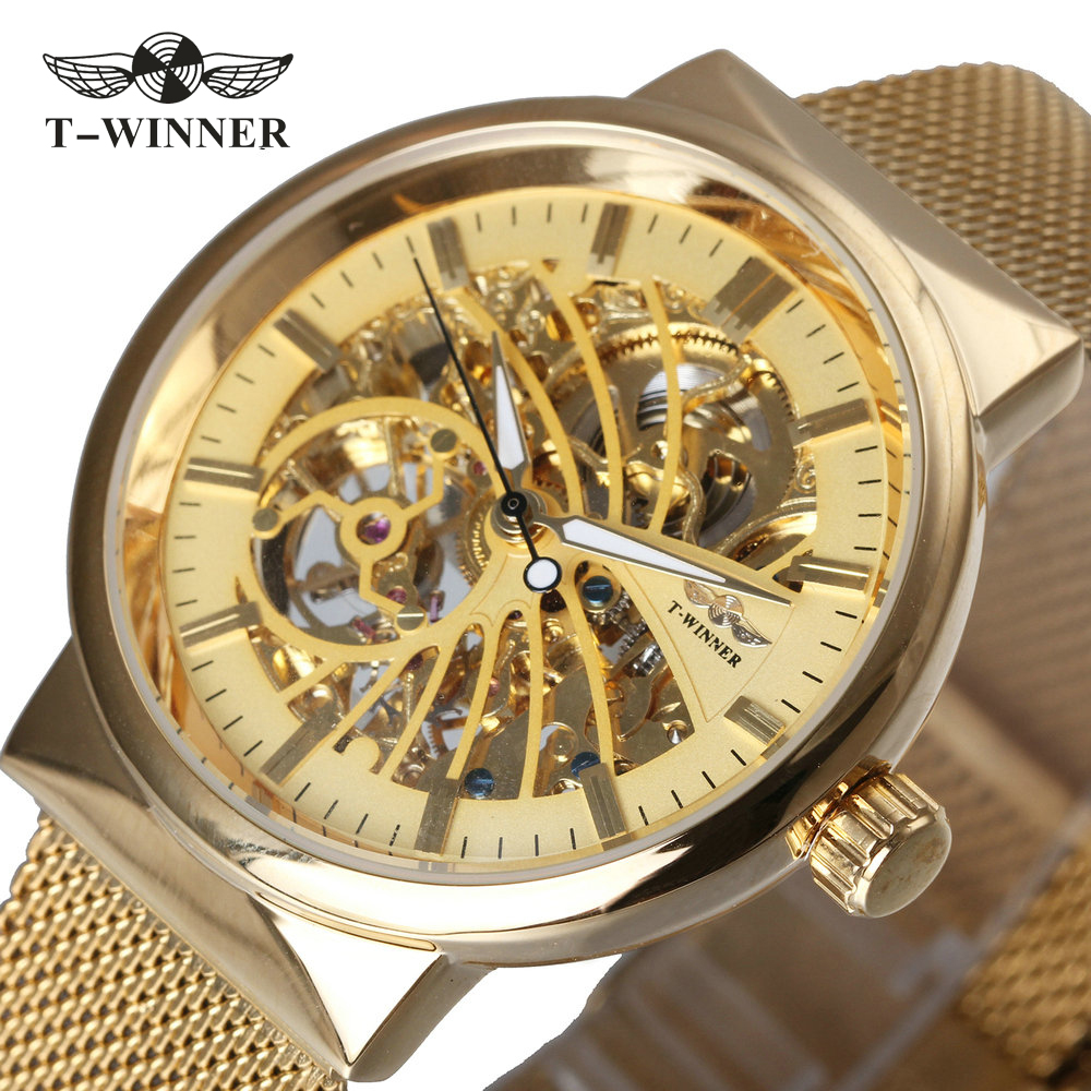 WINNER Luxury Ultra Thin Golden Men Auto Mechanical Watch Mesh Strap Bird Pattern Skeleton Dial Top Fashion Style Wristwatch winner men fashion black auto mechanical watch leather strap skeleton dial square shape round case unique design cool wristwatch