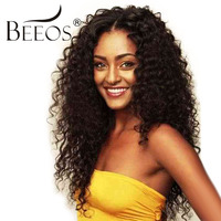 BEEOS 250% Density Lace Front Human Hair Wigs Brazilian Hair Bleached Knots Kinky Curly Lace Wigs With Baby Hair Remy Hair