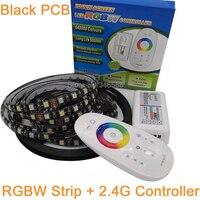 5M 12V 5050 RGBW or RGBWW LED Strip 60LED/M Black PCB IP20 IP65 IP67 Waterproof LED Tape + 2.4G RF Touch Remote RGBW Controller