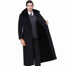 High quality Plus size 4XL Woolen Coat Men's X-Long Rex rabb