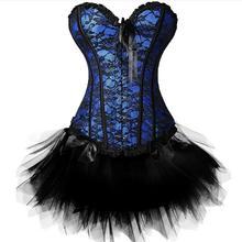 New Sexy Gothic Satin Lingerie Lace Corset Top + G-string + Skirt Bustier Mini Tutu Wedding Dress Costume Black Corset S-6XL