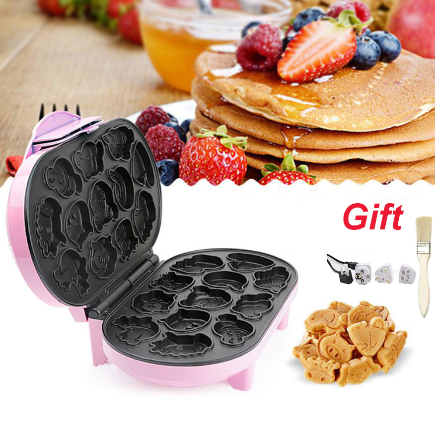 Electric Cartoon Waffle Cake Maker 220V EU Automatic Muffin Pancake Baking Machine Mini Crepe Cooker Multifunction Breakfast Pan|Waffle Makers| |  - title=