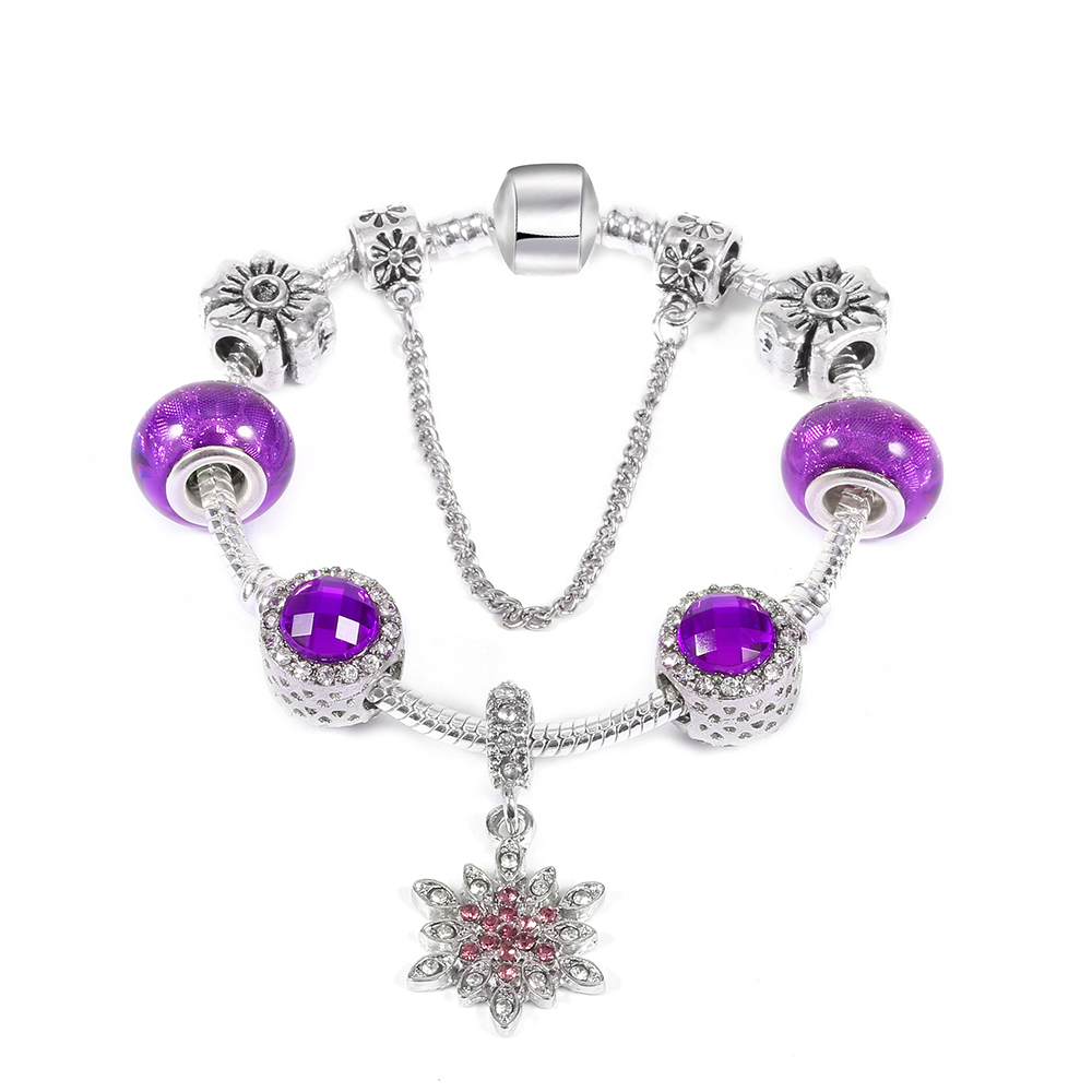 Endless Friendship Purple Snowflake Dangle With Glacier Purple Radiant  Hearts Charm Bracelet Fit Brand Diy Making