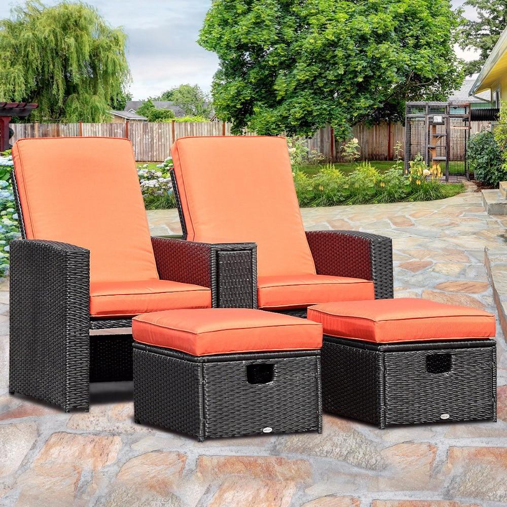 Giantex 3 шт. патио мебель откидывающиеся кресла комплект регулируемой спинкой ротанга Османской мебель HW58256 +
