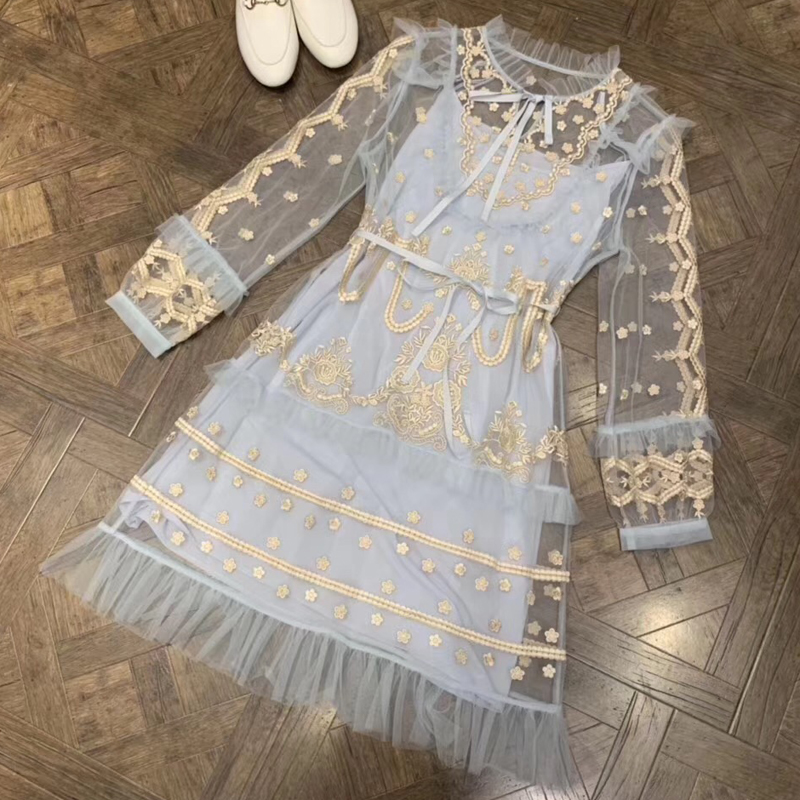 Sexy robe pour femme 2019 robe pour femmes dentelle De Mode Rétro à manches longues Imprimé Floral robes de femmes D'été