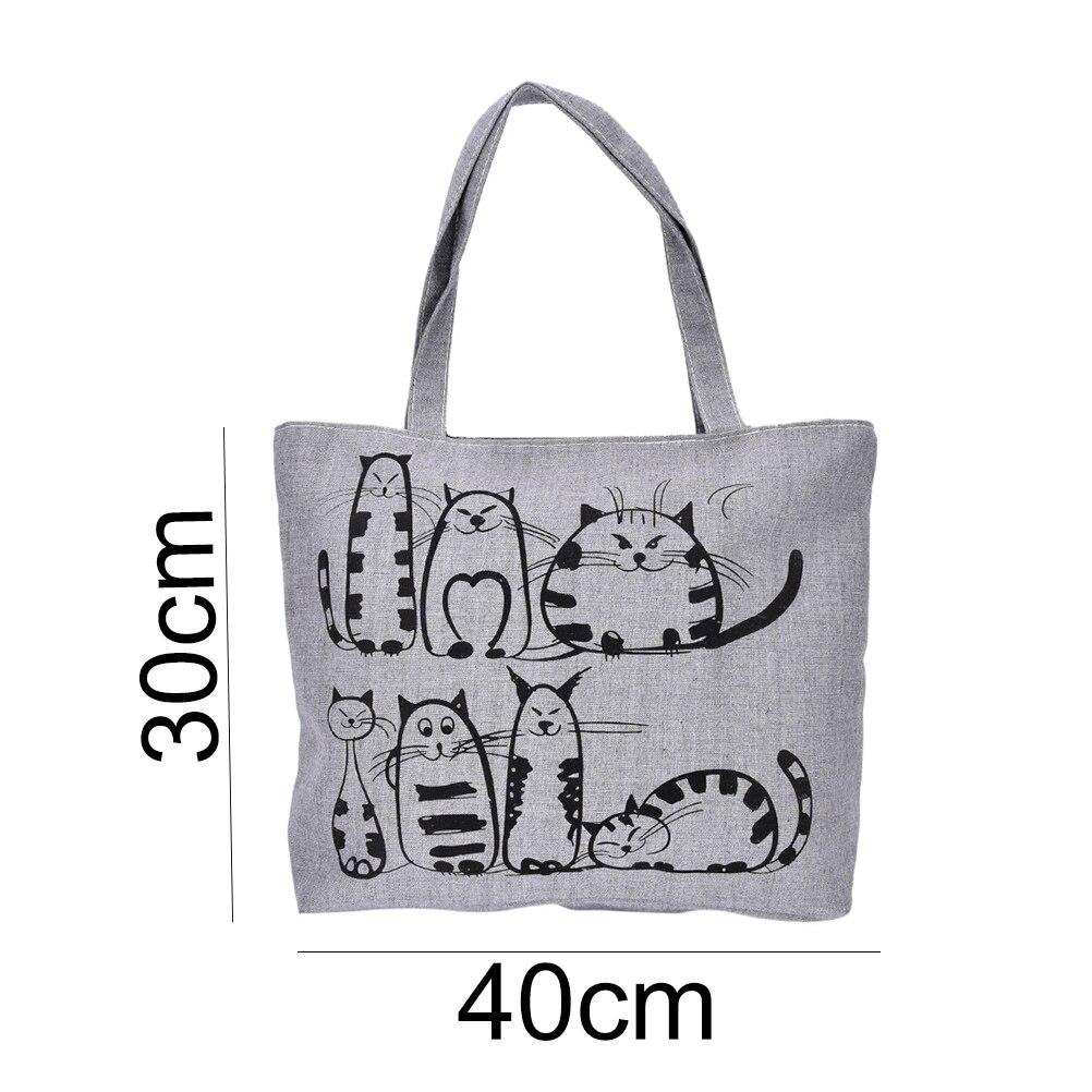 Cartoon Cats Printed Beach Zipper Bag Bolsa Feminina Canvas Tote Shopping Handbags sac a main femme de marque 1PC genuine leather bag fashion handbags large casual tote shoulder bag for women sac a main femme de marque bolsa feminina