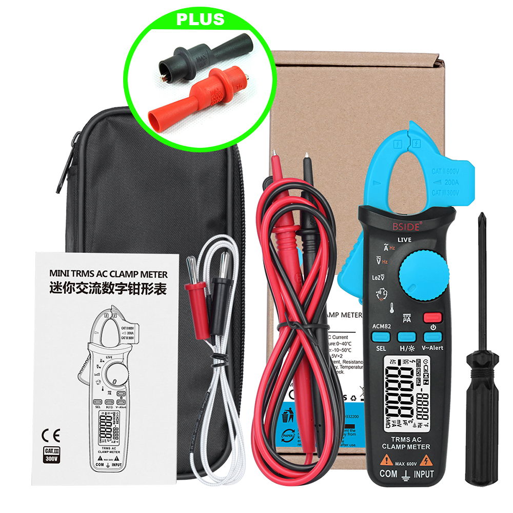 M152 Bside ACM82 TRMS AC Clamp Meter Auto Ranging 6000 Counts 0 001A Current Frequency Temperature