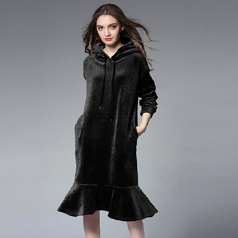 New2017 automne hiver chaud épais polaire velours robe à capuche à volants robe à manches longues femme décontracté Vestidos grande taille XXXXL6610