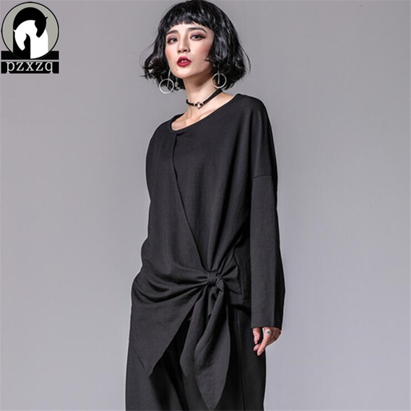 Fashion New Spring Female Loose Pullover Casual T shirts Long Sleeve Asymmetrical T Shirt Women Round Neck Long Sleeve Tops Tee