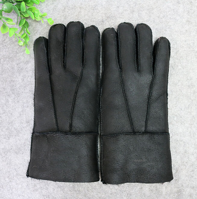 2018 Winter 100% Genuine Leather Men Warm Gloves Real Sheep Fur Wool Gloves For Men Male Thicken Mittens Outdoor Black Guantes