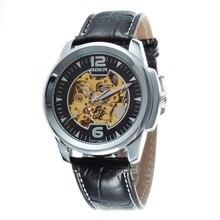 GOER марка Автоматические механические цифровые мужские часы Мода Скелет световой Спорта водонепроницаемый мужские наручные часы