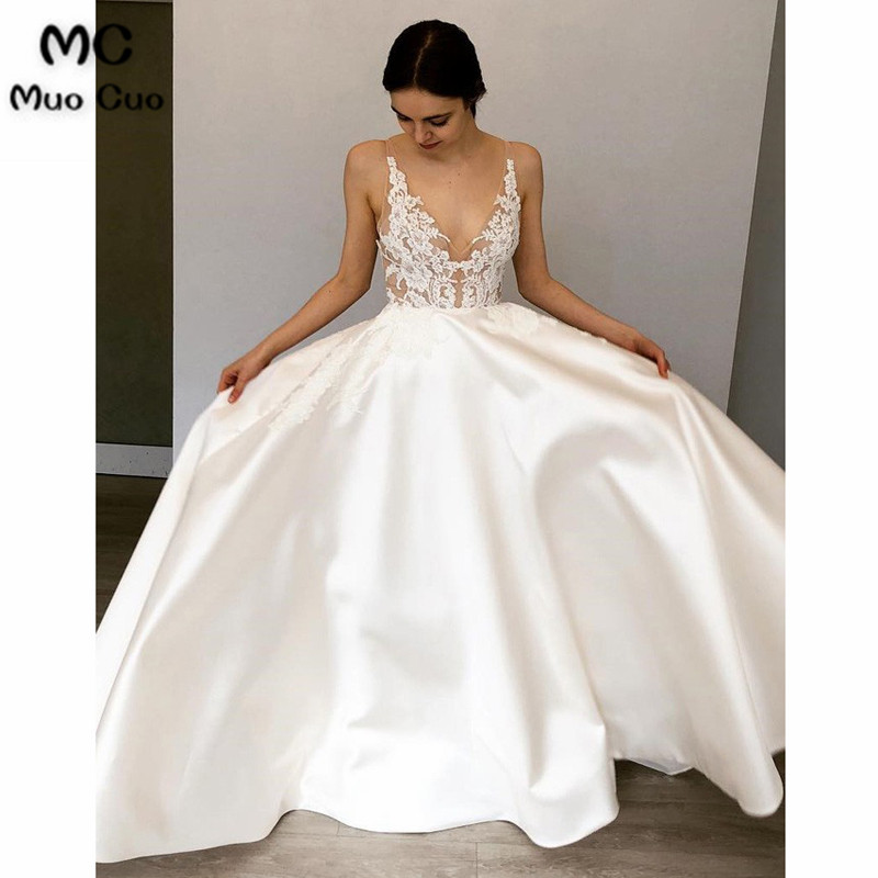 Us 14534 14 Offillusion A Line Wedding Dresses With Appliques Lace Bridal Dresses Satin Backless Sleeveless White Wedding Gown In Wedding Dresses