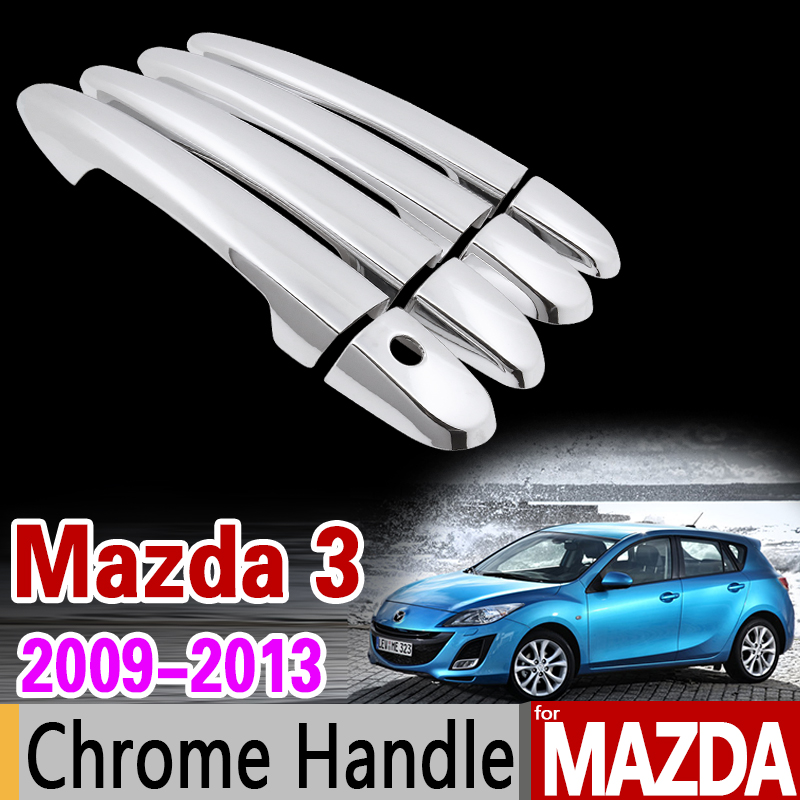 for Mazda 3 2009 - 2013 Chrome Handle Cover Trim Set for 2nd Gen BL Axela 2010 2011 2012 Car Accessories Stickers Car Styling chrome rear trunk lid cover trim for toyota highlander 2009 2010 2011 2012 2013