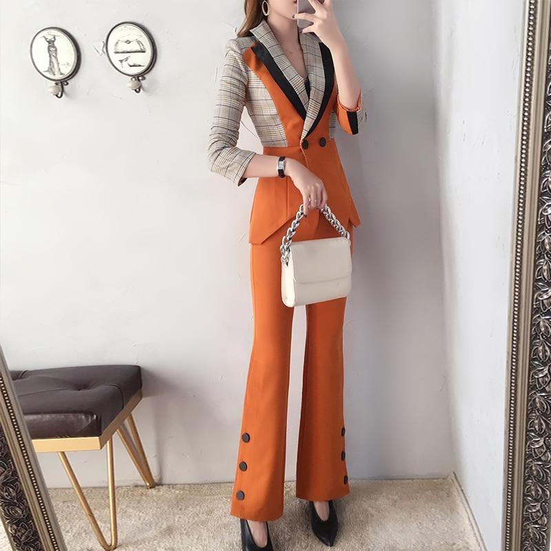 Британский стиль, женские блейзеры, брюки, костюмы, новые женские костюмы, наборы, Офисная Леди, рабочая одежда, наборы, модный клетчатый кос
