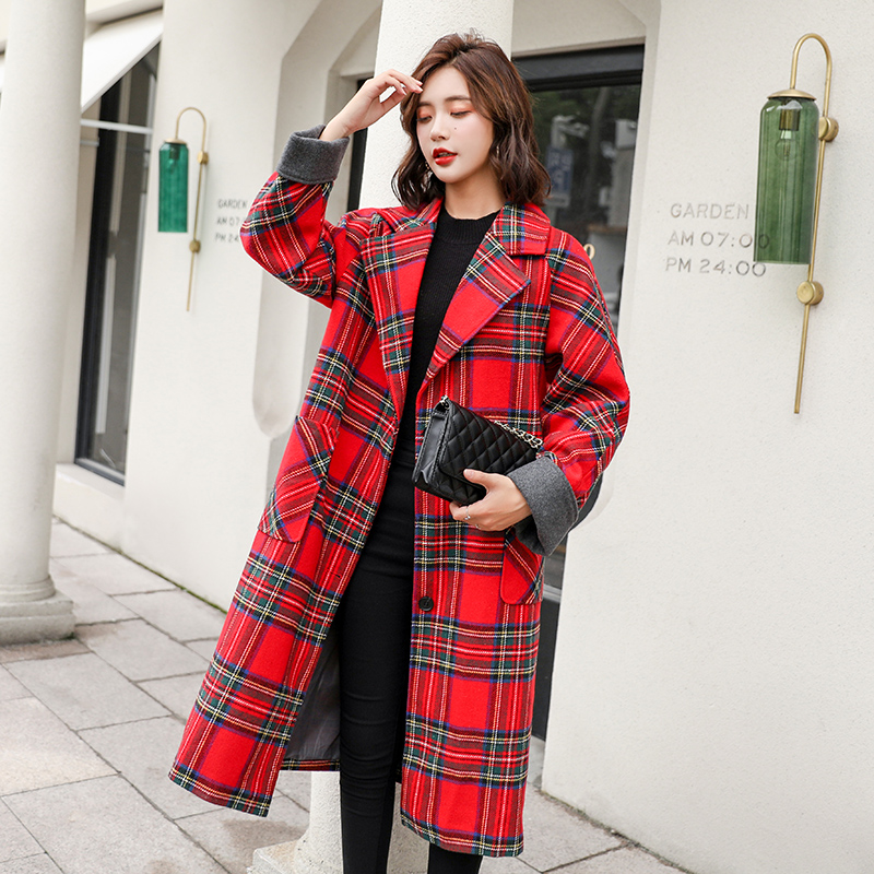 S-2XL Women Red Plaid Tweed Long   Jacket   Pockets Autumn Winter Outwear   Basic     Jacket   Loose Turn Down Collar Overcoat N825