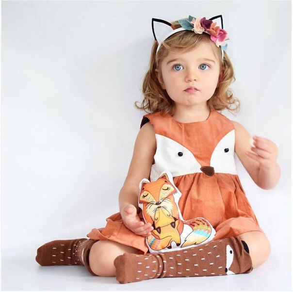 От 1 до 5 лет девочки хлопок платье животное 2017 бренд лето принцесса Вечеринка платье мультфильм лиса Robe Fille Детский костюм для детей дропшиппинг