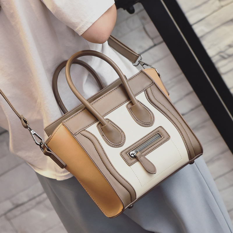 Famous Brand Pu Leather Fashion Laugh Face Luxury Bags Women Handbags Designer High Quality Trapeze Big Tote Shoulder Bags by Jianxiu