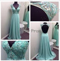 Custom Made A-Line Appliques V-Neck Tank Short Sleeve Mint Green Open Back Backless Prom Dresses 2017 New Autumn Party Dress Red