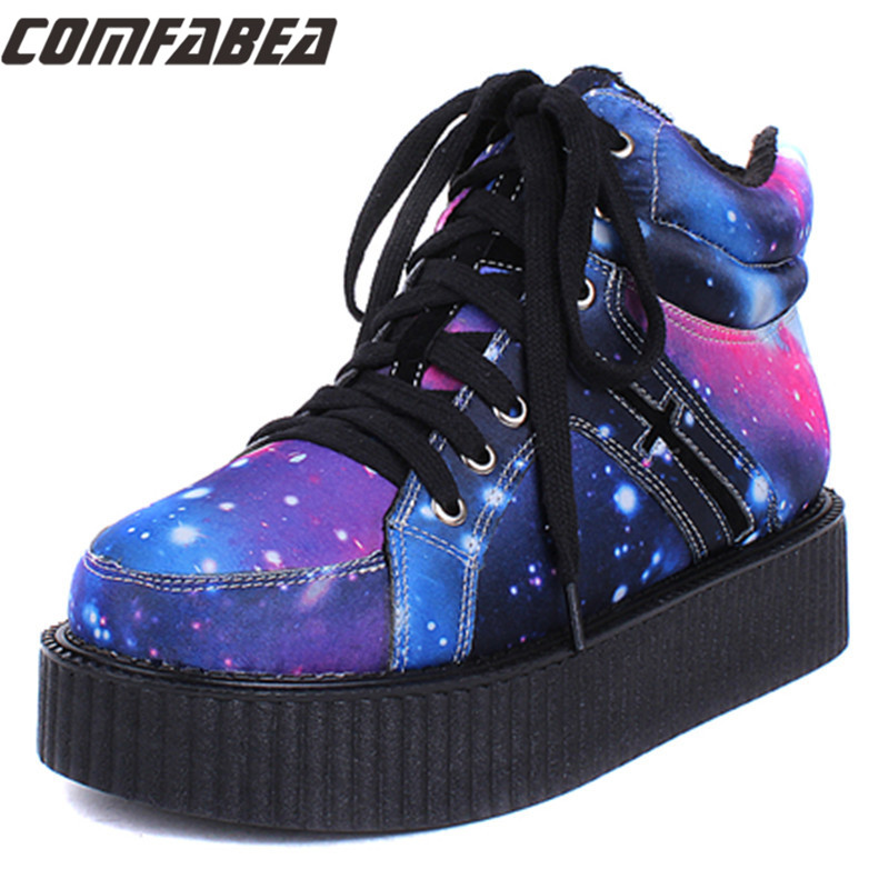 Size 35 40 Womens Winter Punk Shoes 2015 Harajuku Creepers Platform Women Casual Comfortable Galaxy Blue