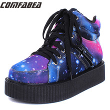 Größe 35 ~ 40 Frauen Winter Punk Schuhe 2015 Harajuku Creepers Platform Women Casual Bequeme Galaxy Blau Goth Punk ankle stiefel