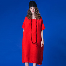 JIQIUGUER Women Solid Loose Beach Dresses Plus Size Short Sleeve O-neck Red Black Casual Female Summer Dress G171Y009