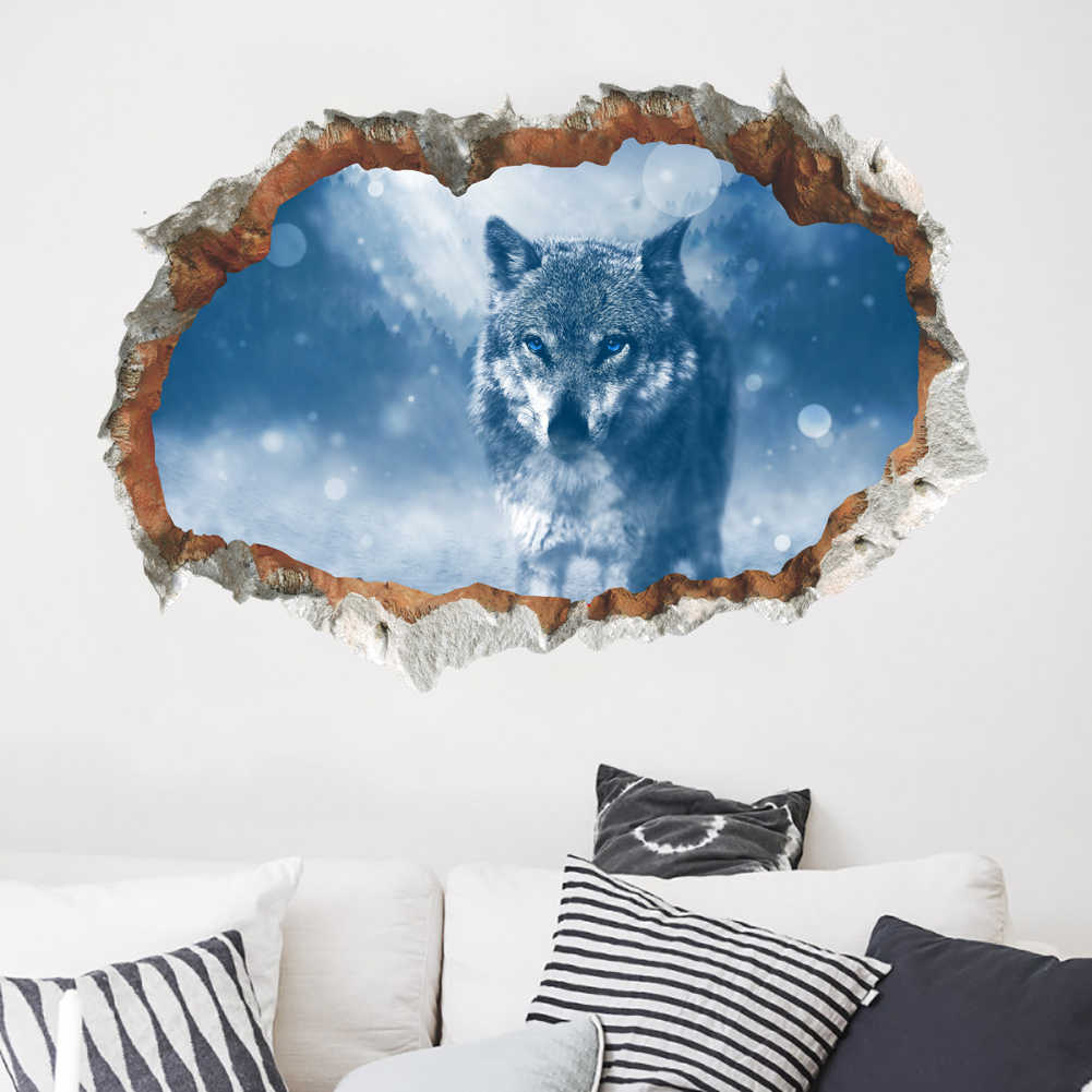3d vivid wolf Wall Stickers Living room Bedroom Office Room Decor Wall Decals broken wall Poster Mural
