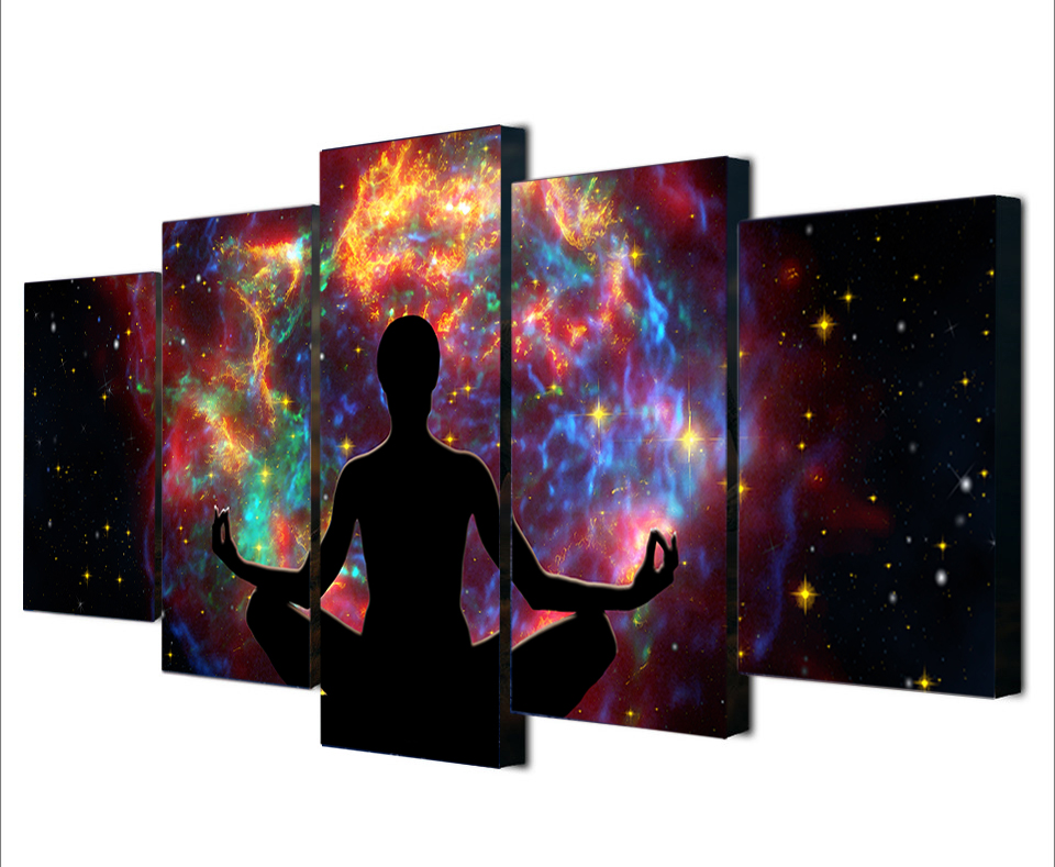 5 Pcs Framed People meditation In A Colourful sky Wallpaper Art Poster Wall Art Canvas Print