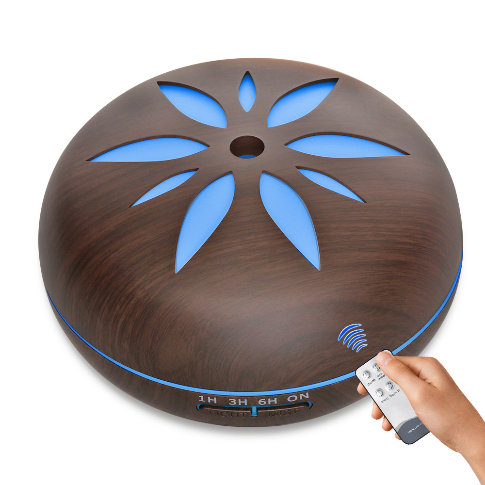 550ML Remote Control Smart Aromatherapy Essential Oil Diffuser Wood Grain LED Light Ultrasonic Cool Mist Aroma Humidifier