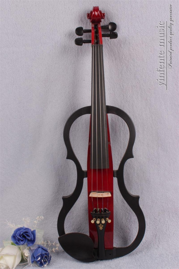 #2680# New 4 string 4/4 Electric violin Solid wood hand add fret electric violin one 4 string 4 4 violin electric violin acoustic violin maple wood spruce wood big jack green color
