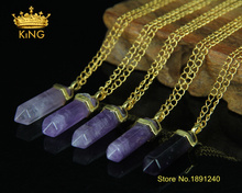3pcs Natural Gem Stone Purple Crystal Pendants Hexagonal Columns Necklace Plated Gold Chain Statement Necklace for Women CN036