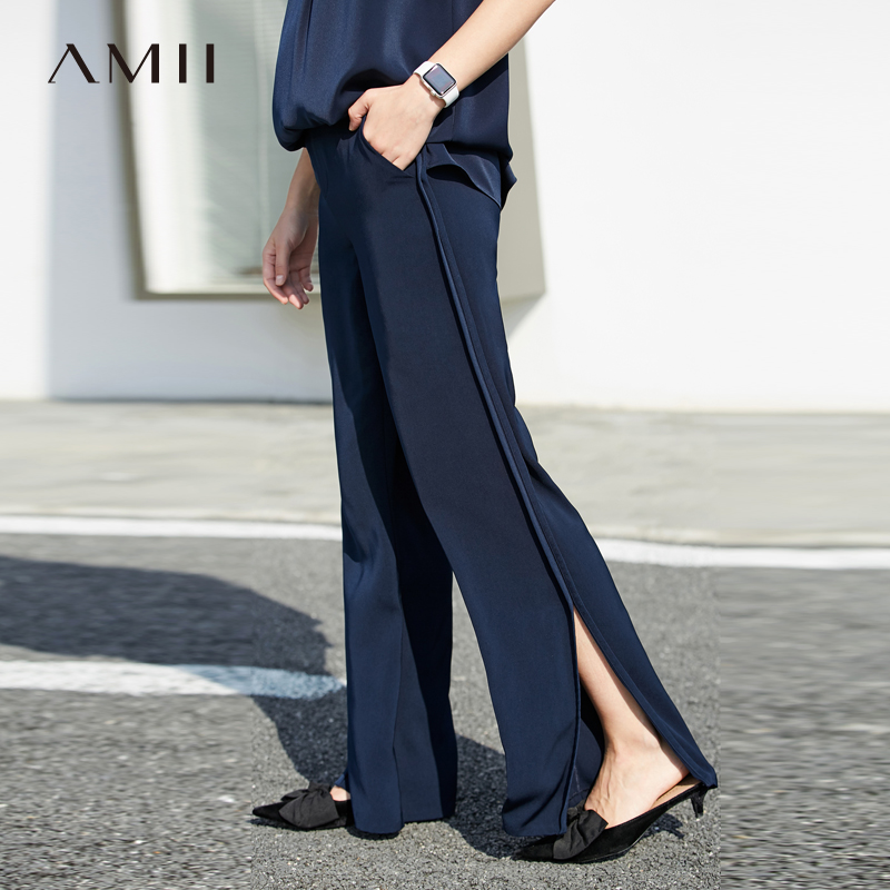Amii Women Minimalist Wide Leg Pants 2019 Chiffon Slits Ruffles High Waist Pleated Female Trousers