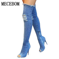 2017 New Fashion Women Hole Denim High Heels Over The Knee Boots Spring Summer Sexy Peep