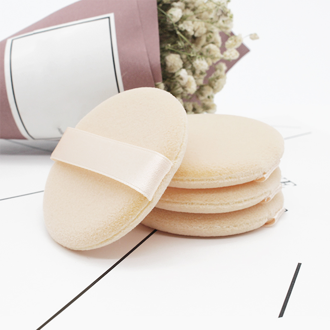 Skin-friendly Organic Cotton Pads Face Smooth Beauty 5PCS Woolen Cloth Soft Foundation Powder Cosmetic Puff Makeup Sponge Puff image