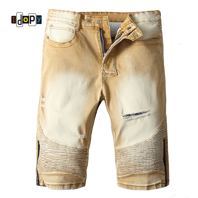 Idopy Men's Fashion Brand Designer Ripped Biker   Jeans   Shorts Men Distressed Moto Denim Joggers Khaki Washed Pleated Denim Shorts