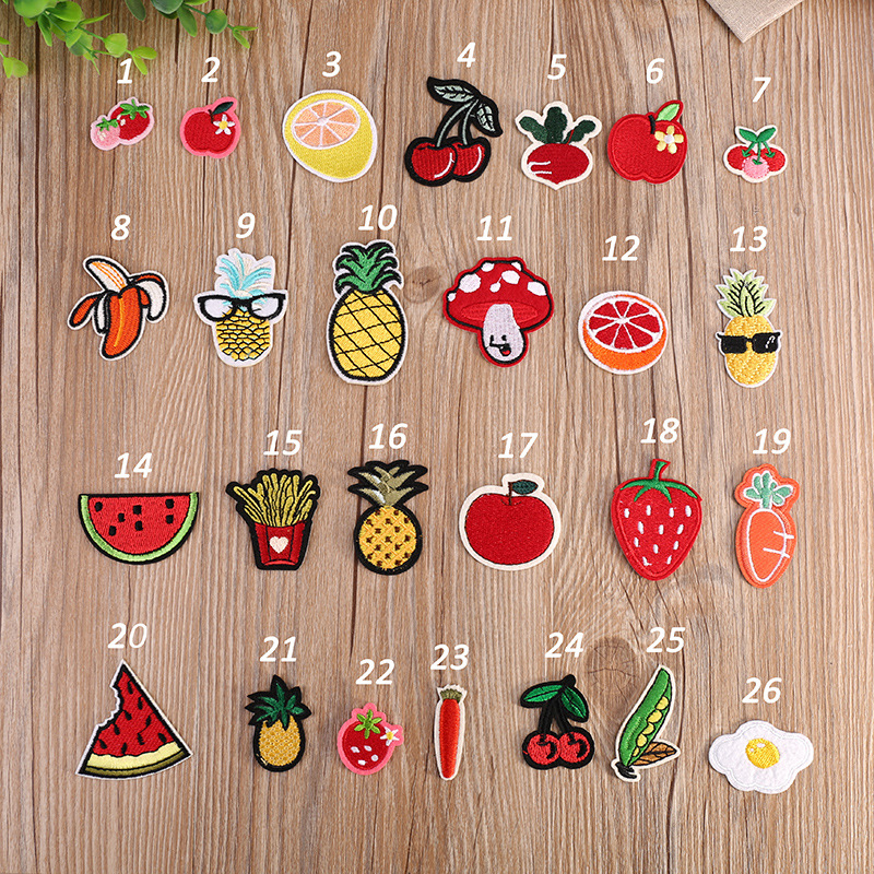 Bobitree 26 pcs/set red cute small size patches iron on cartoon fruit Stickers Fabric deal with it clothing