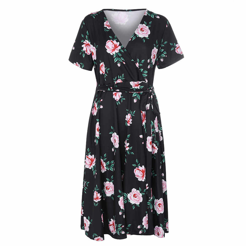 נשים פרחוני הדפסת חוף שמלת אופנה Boho קיץ שמלות גבירותיי בציר תחבושת Bodycon המפלגה שמלת Vestidos בתוספת גודל XL-5XL