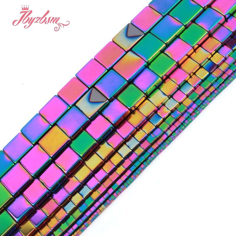 1,2,3,4,6,10mm Cube Square Multicolor Hematite Bead Natural Stone Beads For Diy Necklace Jewelry Making Strand 15 Free Shipping Jewelry & Accessories Beads & Jewelry Making